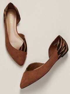 Zebra Print Detail Pointy Toe Open Side Flats