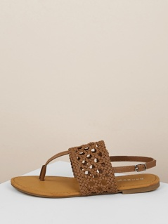 Braided Wide Band Y-Strap Slingback Flat Sandals