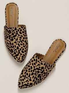 Leopard Pointy Toe Open Back Flat Slide Mules