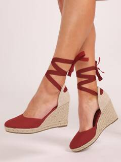 Ankle Wrap Closed Toe Jute Trim Espadrille Wedges