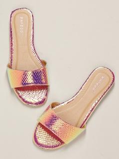 Iridescent Open Toe Band Flat Slide Sandals