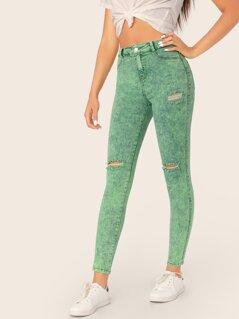 Neon Colored Acid Wash Skinny Denim Jeans