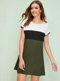 Keyhole Back Colorblock Dress