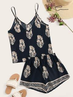 Tribal Print Cami Top and Shorts Set