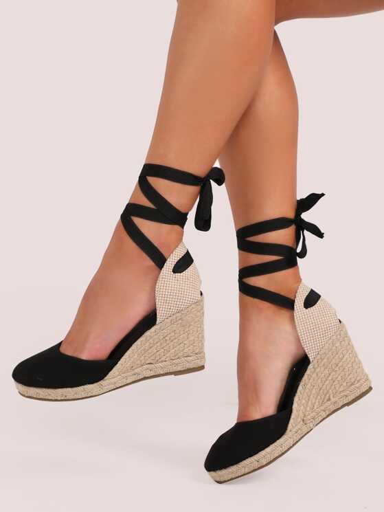 1b5fa0bdb3e Lace Up Ankle Closed Toe Jute Trim Wedges