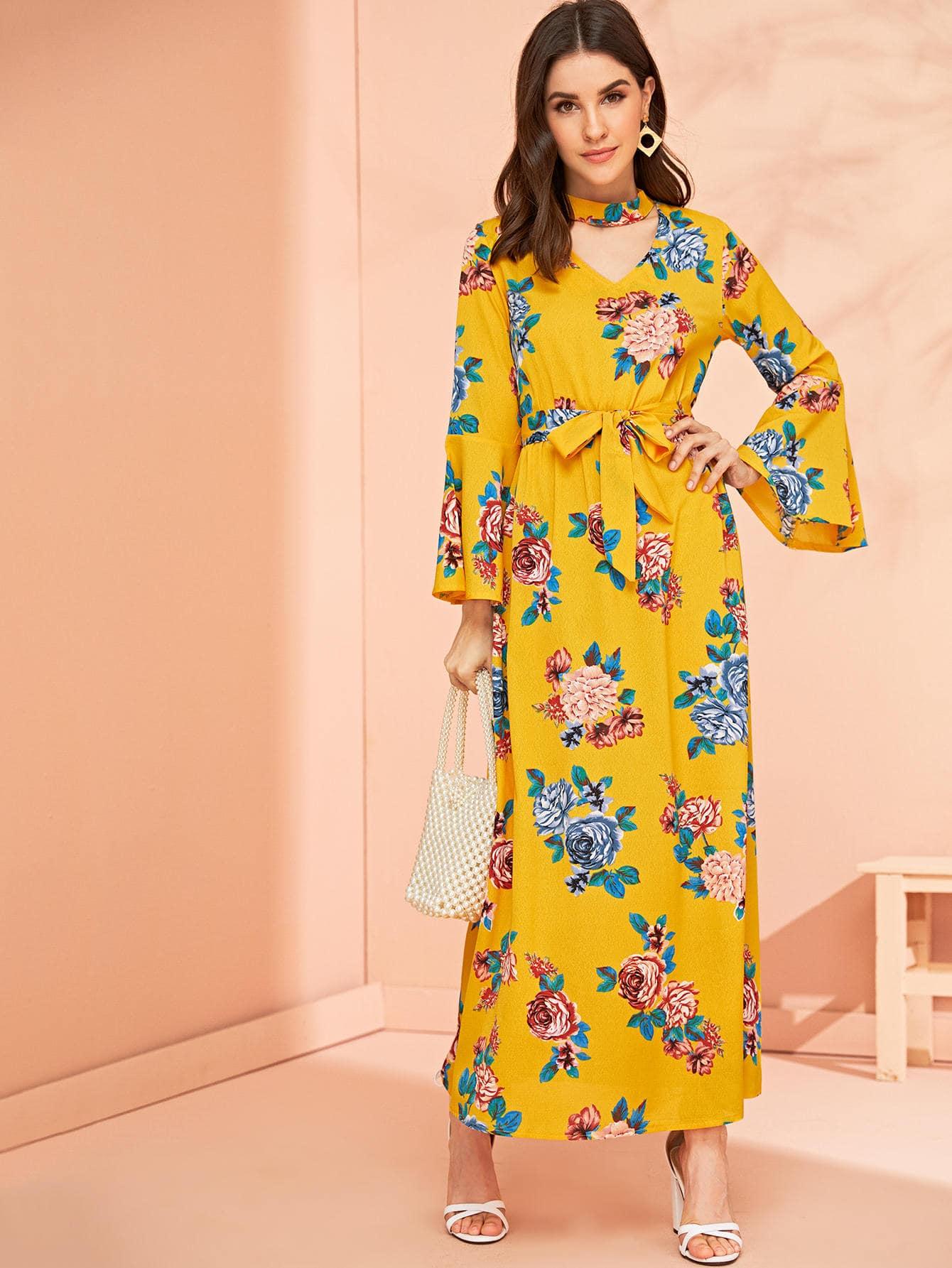 Фото - Цветочное длинное платье с оригинальным рукавом от SheIn цвет жёлтые