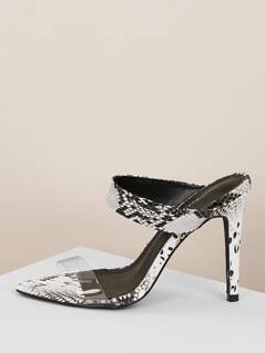 Transparent Band Snakeskin Print Heeled Mules