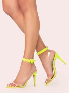 Vinyl Band Neon Buckled Ankle Strap Stiletto Heels