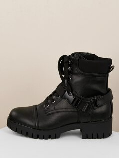Lace Up Buckled Closure Thick Lug Sole Boots