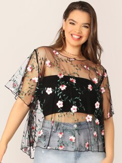 Plus Embroidered Mesh Sheer Top Witohut Bandeau