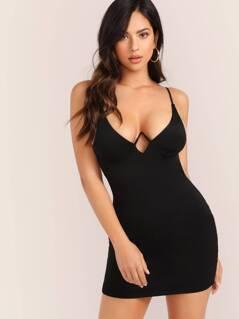 Wired Bust Sleeveless Backless Scuba Mini Dress