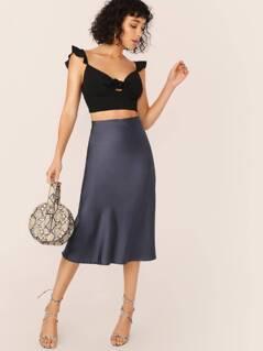 Elastic Waist Satin Flounce Hem Midi Skirt