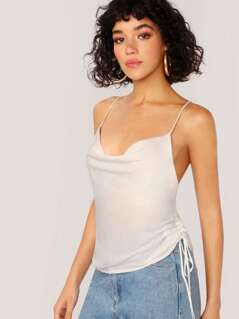 Criss Cross Cowl Neck Button Up Cami Tank Top