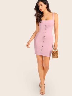 Button Detail Rib Knit Mini Tank Dress