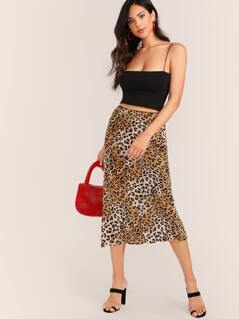Elastic Waist Leopard Midi Skirt