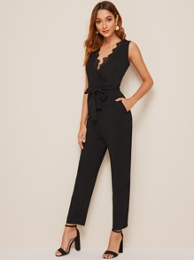 Lace Panel Belted Surplice Jumpsuit