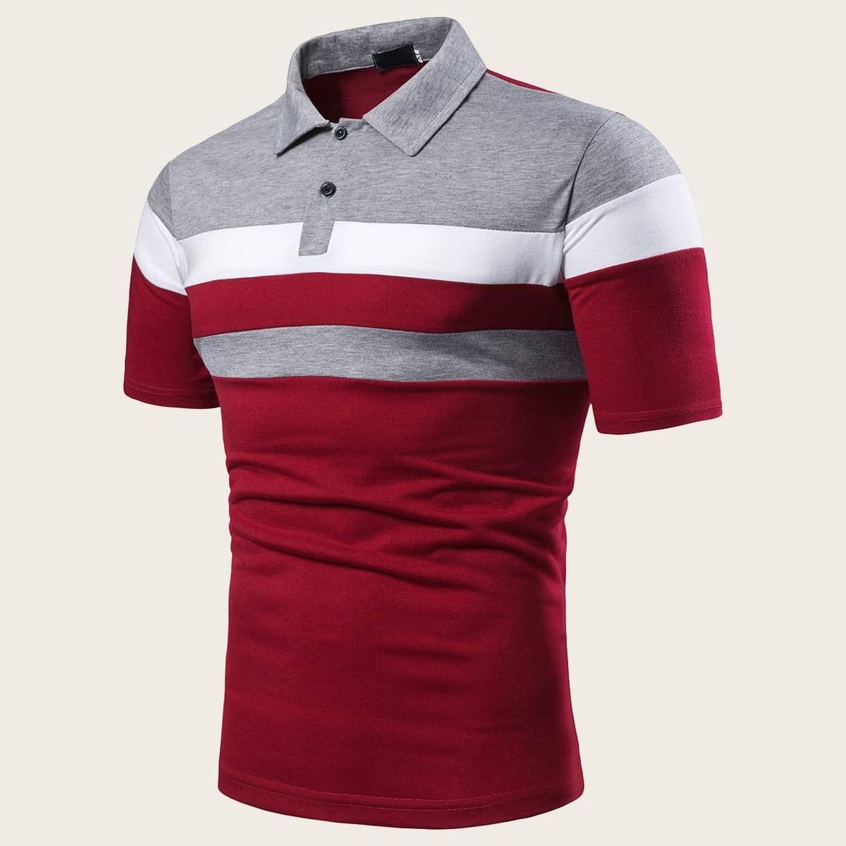 Veel kleurig Casual Poloshirts voor heren Kleurblok