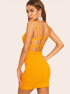 Geo Cut Backless Zip Back Rib-knit Bodycon Dress