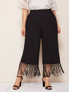 Plus Fringe Hem Wide Leg Capris Pants