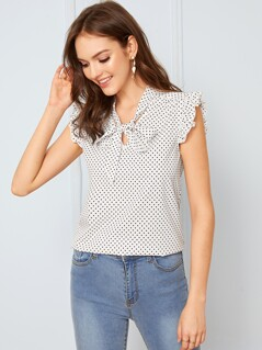 Ruffle Trim Polka-dot Print Tie Neck Blouse