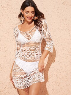 Scoop Neck Crochet Bodycon Cover Up