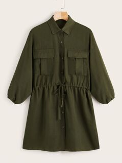 Drawstring Waist Utility Shirt Dress