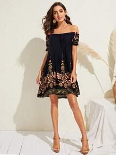 Off Shoulder Floral Print Tunic Dress