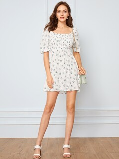 Ditsy Floral Print Bishop Sleeve Shirred Dress