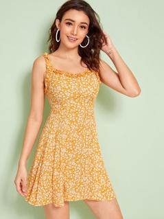 Ditsy Floral Print Frill Trim Slip Dress