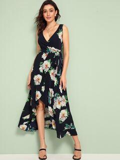 Floral Print Tie Side Wrap Dress