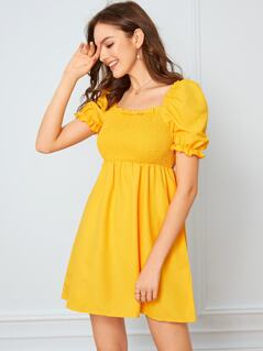 Solid Frill Trim Shirred Dress