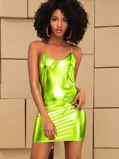 Neon Green Bodycon Metallic Slip Dress