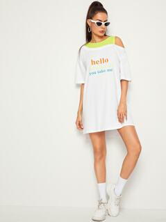 Slogan Print Cold Shoulder T-shirt Dress