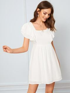 Layered Sleeve Knotted Back Cut-out Dress