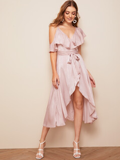 Asymmetrical Neck Ruffle Trim Wrap Belted Satin Dress