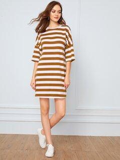 Drop Shoulder Striped T-shirt Dress
