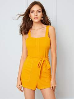 Solid Pocket Patch Zip Back Belted Romper