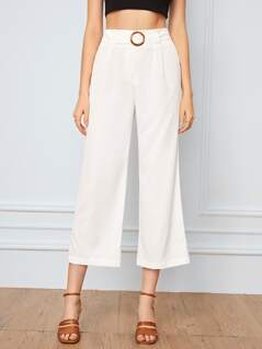 Solid Ring Belted Straight Leg Crop Pants