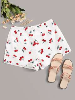 Cherry Print Zip Fly Shorts