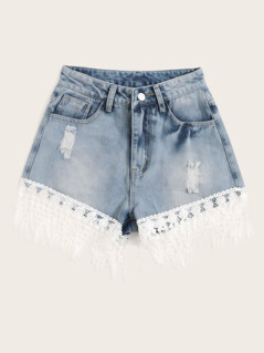 Lace Fringe Hem Ripped Detail Denim Shorts