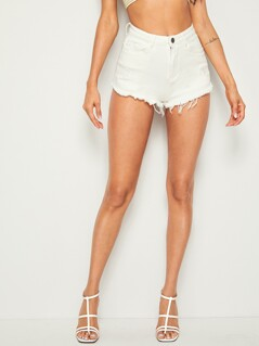 Solid Raw Hem Ripped Mini Denim Shorts