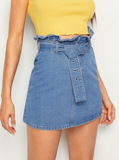 Paperbag Waist Adjustable Belted Denim Skirt