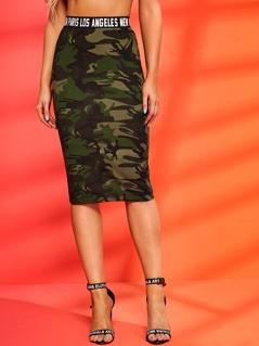 Letter Tape Waist Slit Hem Camo Pencil Skirt