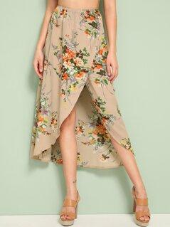 Floral Print Asymmetrical Wrap Skirt