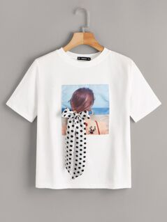 Figure Patched Polka-dot Ribbon Tee