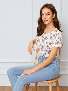 Ditsy Floral Print Tee