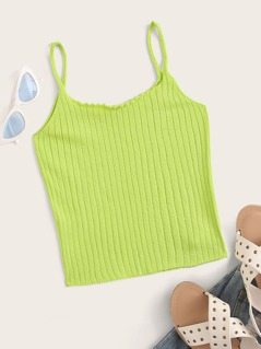 Neon Green Lettuce Trim Rib-knit Cami Top