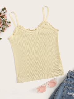 Frill Trim Rib-knit Cami Top