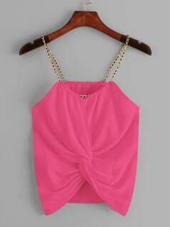 Neon Pink Twist Front Chain Strap Top