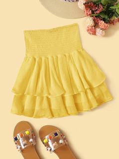 Solid Layered Ruffle Hem Shirred Skirt
